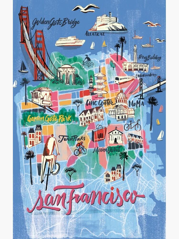 San Francisco illustrierte Karte von franciscomartns