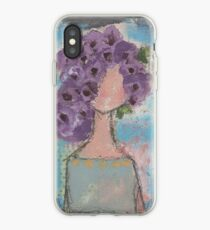 Purple flowers in her hair iPhone Case