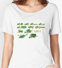 Farm Vehicles - The Kids' Picture Show - Pixel Art Women's Relaxed Fit T-Shirt
