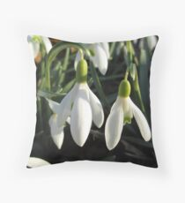 Snowdrops In The Sun Throw Pillow