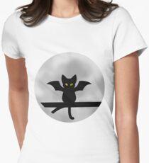 Bat Cat Nighttime Circle Design Women's Fitted T-Shirt
