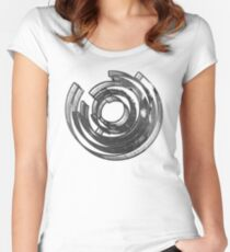 Abstract Maze Distressed Women's Fitted Scoop T-Shirt