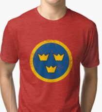 Military Roundels - Flygvapnet Swedish Air Force Tri-blend T-Shirt