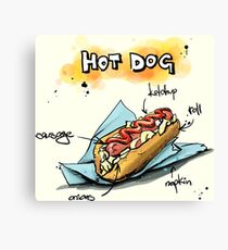 Classic Hot Dog Illustration with Ingredients Canvas Print