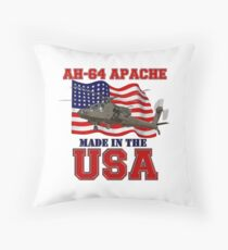 AH-64 Apache Made in the USA Throw Pillow
