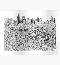 View from Lincoln Park Zoo Maze Poster