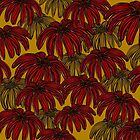 Red Flowers on Mustard by RC-aRtY