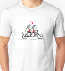 Couple cycling together, valentine sketch for your design Unisex T-Shirt