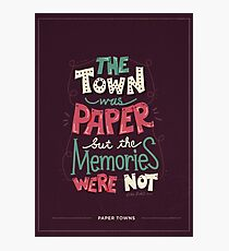 Paper Towns: Town and Memories Photographic Print