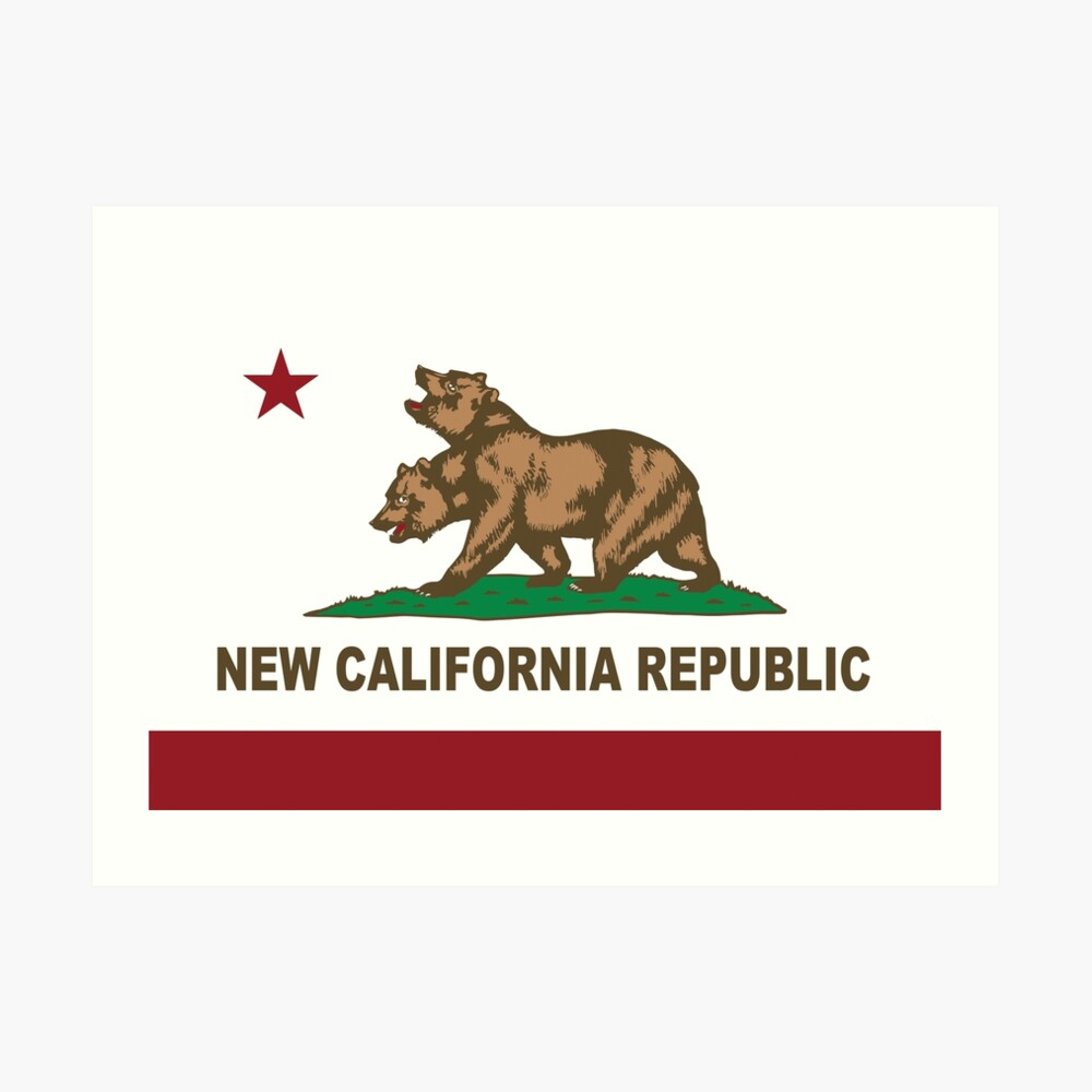 New California Republik Flagge Original Kunstdruck