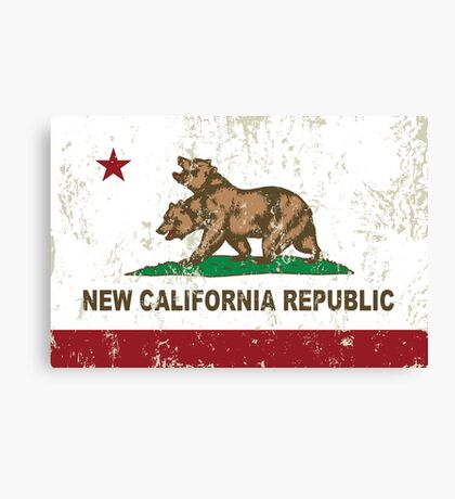 New California Republic Flag Distressed Canvas Print