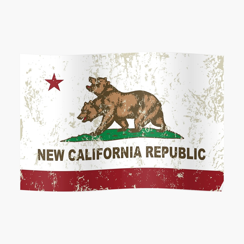 New California Republik Flagge Distressed Poster
