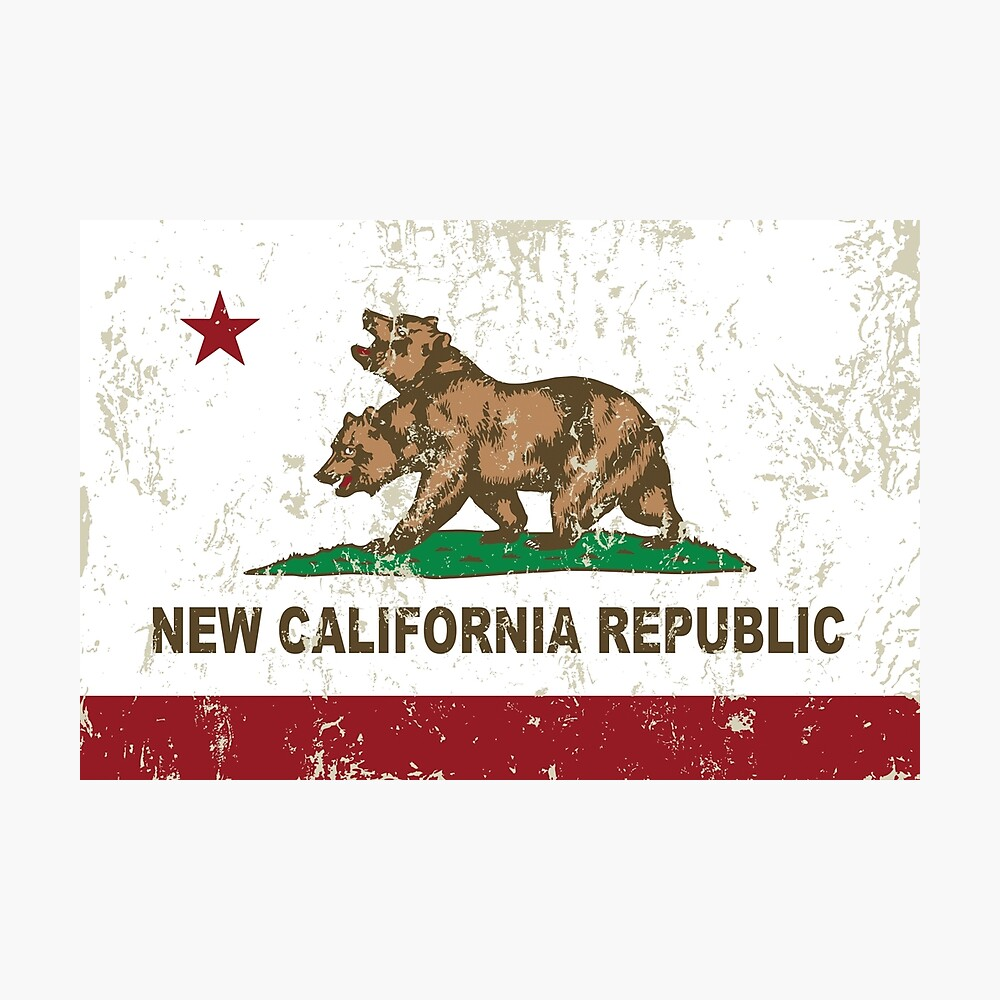 New California Republik Flagge Distressed Fotodruck