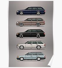 Stack of Mercedes W124 S124 E-Class Wagons Poster