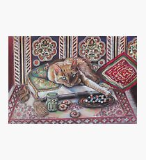 Ginger cat playing Solitaire Photographic Print