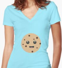 chocolate chip cookie kawaii Women's Fitted V-Neck T-Shirt