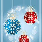 Christmas card with shimmering baubles, holidays illustration  by schtroumpf2510