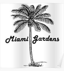 Black and White Miami Gardens & Palm design Poster