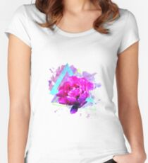 Trendy flower art  with lovely peony and triangles. Women's Fitted Scoop T-Shirt