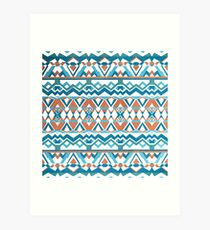 Pattern blue&orange Art Print