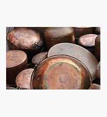 old pots and pans in the kitchen Photographic Print