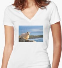 Donegal Sheep Women's Fitted V-Neck T-Shirt