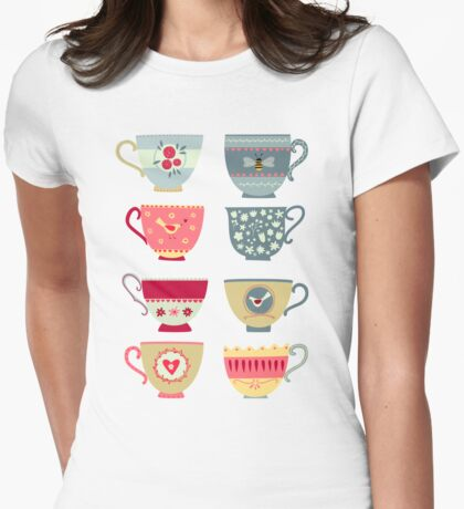 Tea Cups Womens Fitted T-Shirt