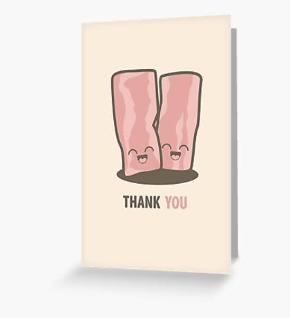 Happy Kawaii Bacon Thank You Card Greeting Card