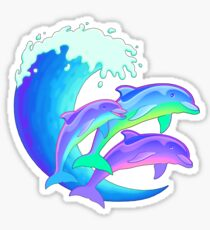 Psychedelic Dolphins Sticker