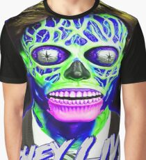 THEY LIVE - Blue & Green Graphic T-Shirt