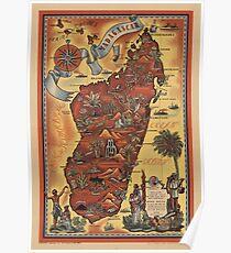Karte von Madagaskar 1952 Poster