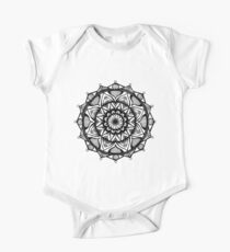 Traditional Lotus Mandala Pen and Ink One Piece - Short Sleeve