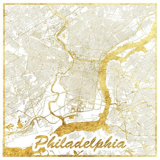 Philadelphia Map Gold by HubertRoguski