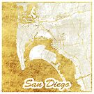 San Diego Map Gold by HubertRoguski