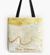 New Orleans Map Gold Tote Bag