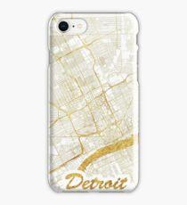 Detroit Map Gold iPhone Case/Skin