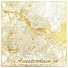 Amsterdam Karte Gold von HubertRoguski