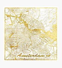 Amsterdam Map Gold Photographic Print