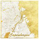 Kopenhagen Karte Gold von HubertRoguski