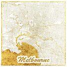 Melbourne Karte Gold von HubertRoguski