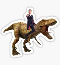 Capaldi on a Dinosaur Sticker