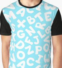 Blue pattern with letters. Graphic T-Shirt