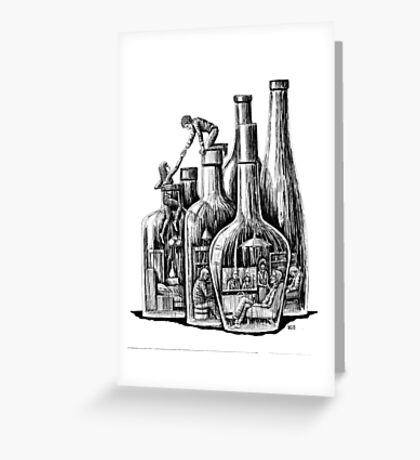 Rescue surreal ink pen drawing Greeting Card