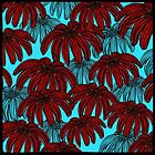 Red Flowers on bright blue by RC-aRtY