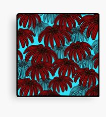 Red Flowers on bright blue Canvas Print