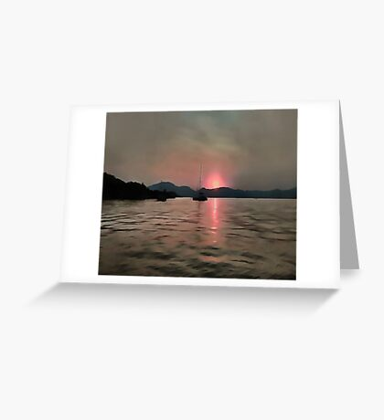 Sunset Shores In Pink And Grey Greeting Card