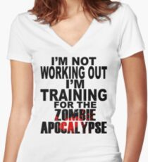 Training For The Zombie Apocalypse (dark text) Women's Fitted V-Neck T-Shirt