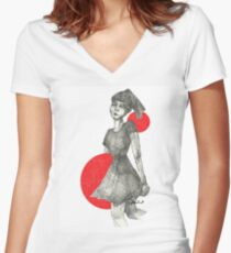 Red Bubble Girl Women's Fitted V-Neck T-Shirt