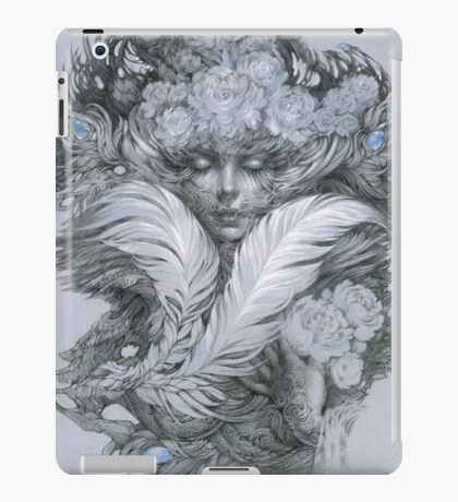 Fairy lady with white feathers and roses. iPad Case/Skin