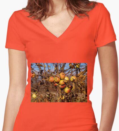 Apple tree Women's Fitted V-Neck T-Shirt